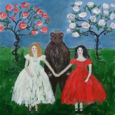 RESERVED Snow White and Rose Red, a custom order fairy tale painting. Acrylic on canvas I welcome custom orders, contact me for details. White Roses, Red Roses, Snow Images, Show White, Antique Pictures, Fairytale Art, Nursery Rhymes, Faeries, Art Forms