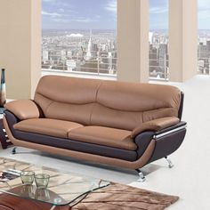 Casual Brown Leater Trendy Sofa for Appartement