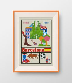 Barcelona cross stitch pattern,  Instant Download, PDF, Little Barcelona, P068 by NataliNeedlework on Etsy