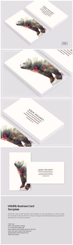 Wildlife Business Card Template https://creativemarket.com/MeeraG/684757-Wildlife-Business-Card-Template #design #art #graphicdesign