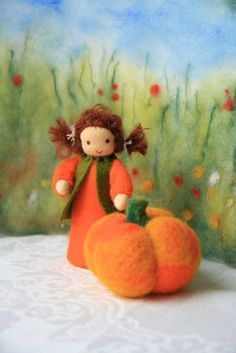 pumpkin child with big pumpkin for nature table / harvest time Waldorf