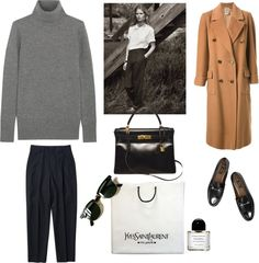 "la-fleur-de-neige: ""Untitled #1524 by girlinlondon featuring hermes handbags ❤ liked on Polyvore J Crew turtleneck sweater, $315 / CÉLINE brown coat, $930 / Pleated cuffed pants, $575 / Gucci leather..."