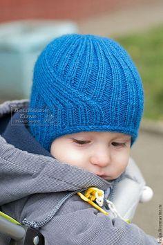 Шапка вязаная осенняя для малышей детская с ушками - синий,шапочка детская