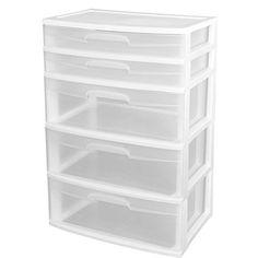 nice Sterilite 5 Drawer Wide Tower Plastic Storage Cabinet Organization - White