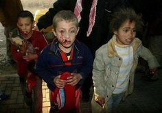Poor Palestinian kids suffering after attacks from the Israelis.