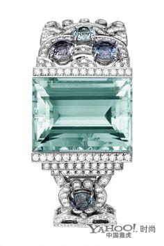 Cartier jewelry bracelets    platinum, aquamarine, spinel, pear-cut diamonds, brilliant cut diamonds