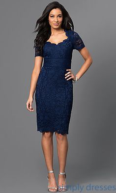 Shop dark-blue party dresses at Simply Dresses. Short-sleeve lace dresses with Queen Anne necklines and knee-length wedding-guest dresses.