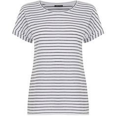 Warehouse Stripe Breton T-Shirt, White/Blue ($23) ❤ liked on Polyvore featuring tops, t-shirts, white stripes t shirt, crew neck tee, crew neck t shirt, white t shirt and short sleeve tee