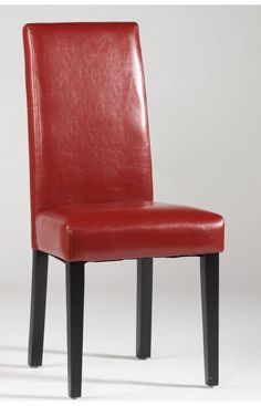Features: Straight Back Parson Chair Color/Finish: Black Upl: Black PU High back parsons chair Deep seating Dark Brown PU Dark Merlot finished wood legs