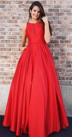 simple red long ball gown with pockets