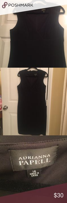MAKE OFFERS *Adrianna Papell Dress Adrianna Papell black dress. Worn Twice. Very comfortable and flattering. Size 14. Back has kick pleat that is still sewn together. Oops, I guess I wore it like that 😊 Adrianna Papell Dresses Midi
