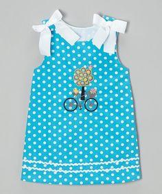 Look at this #zulilyfind! Turquoise Summer Cruisin' A-Line Dress - Infant, Toddler & Girls by Castles & Crowns #zulilyfinds