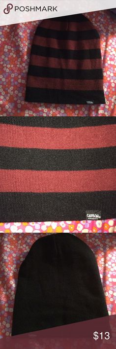 maroon and black reversible beanie maroon and black stripes on one side, plain black on the other. worn a couple times. not sure where its from but brand is Carbon. put Hot Topic for visibility Hot Topic Accessories Hats
