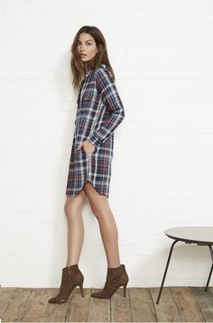 Plaid Shirt Dress ::