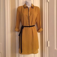 Ann Taylor Loft Shirt Dress Golden yellow shirt dress with small flower detail and belt.  Size is Small petite.  Dress is in excellent condition. Only worn once. LOFT Dresses