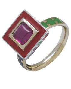 Memphis Square in Pink Tourmaline, Fairtrade silver & 14ct gold