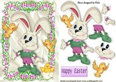 EASTER BUNNY WITH EASTER CHICKS IN FLOWER FRAME, Lots of designs to see