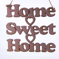 Home Sweet Home Phrase Hanging Decoration with hearts. Wooden/MDF - Home Decor in Home, Furniture & DIY, Celebrations & Occasions, Christmas Decorations & Trees | eBay