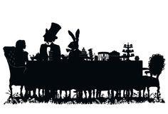 Alice in Wonderland - Laura Barrett - Illustration Portfolio - London Based Freelance Silhouette & Pattern Illustrator Alice Tea Party, Alice In Wonderland Tea Party, Disney Fantasy, Silhouettes, Alice In Wonderland Silhouette, Were All Mad Here, Mad Hatter Tea, Adventures In Wonderland, Through The Looking Glass