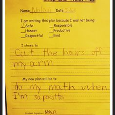 Def having the kids in my class do this when they get in trouble-would be really funny too!