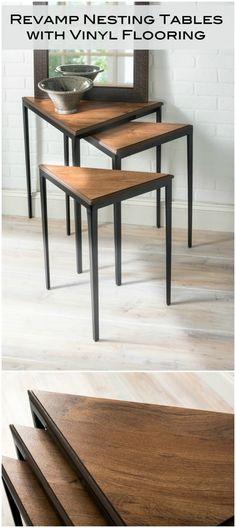 Learn how to revamp nesting tables using vinyl flooring! Leftover flooring makes…