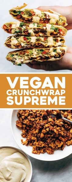Vegan Crunchwrap Supreme - Pinch of Yum- This vegan crunchwrap is INSANE! Stuff this bad boy with whatever you like – I made it with sofritas tofu and cashew queso – and wrap it up, fry, and devour! Favorite vegan recipe to date. Healthy Diet Recipes, Gourmet Recipes, Whole Food Recipes, Mexican Food Recipes, Vegetarian Recipes, Cooking Recipes, Vegetarian Wraps, Healthy Nutrition, Healthy Eating