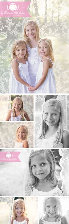 Three adorable blonde sisters with a beautiful lace backdrop and white dresses during their outdoor photo session in Eden Prarie, Minnesota » Katherine Mendieta Photography
