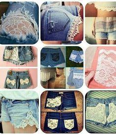 Lace shorts jean