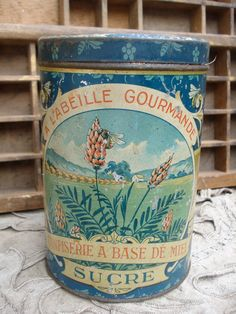 Vintage old french metal tin box honey sugar canister