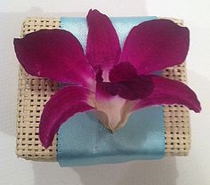 Woven Favor Box with Orchid Accent by UrbanElementsDesign on Etsy, $3.50