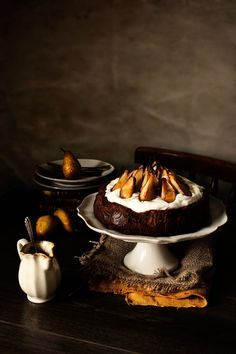 chocOlate mousse cake with roasted pears