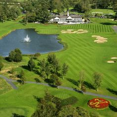 Aerial view of The 18th green and The Palmer Clubhouse on The Palmer Ryder Cup Course