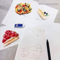 寒流打稿好辛苦喔~ 正在選題材和備課是的,我終於要開課了 暫定12月底會公佈開放報名喔,1月中上課~請密切留意粉絲團或instagram✒ #watercolor#sketch#illustration#illustrator#paint#painting#draw#drawing#winsorandnewton#art#artwork#article#dessert#delicious#teatime#strawberrypie#cake#taiwan#pizza#festivewngiveaway#水彩#手繪#雪莉畫日誌