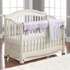 Liz and Roo Abigail (Lavender) Bumperless Crib Bedding: This beautiful purple baby bedding set in lavender damask and white will soothe and delight your baby! Our Abigail set comes with four pieces to create the perfect crib bedding set for your baby girl! All are made in USA, ensuring the highest quality workmanship. #purple #nursery