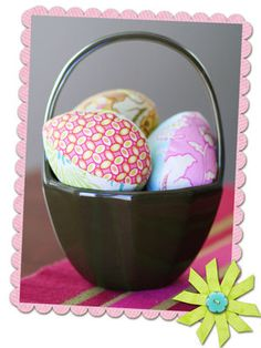 Fabric stuffed Eggs. You could leave a hole and stuff them with treats and just reuse each year. A great alternative to the disposable plastic eggs!