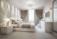 trendy bedroom wall decor above bed cute ideas mirror Elegant Bedroom Design, Luxury Bedroom Design, Luxury Interior Design, Design Interiors, Interior Modern, Bedroom Colors, Home Decor Bedroom, Bedroom Wall, Bedroom Curtains