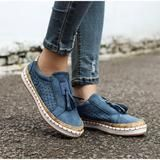 SLHJC Women Casual Loafers Shoes Spring Autumn Work Sneakers Round Toe Breathable Plus Size Espadrilles Farm Flats Slip On Shoe Size 5 Color fringe blue Loafer Shoes, Flats, Work Sneakers, Clothing Sites, Casual Loafers, Ladies Slips, Spring Shoes, Toe Shape, Army Green