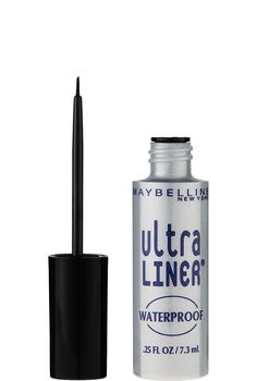 Ultra Liner Waterproof Liquid Eyeliner by Maybelline. Waterproof and smudge proof eyeliner with a precision brush for perfect application and all day wear.