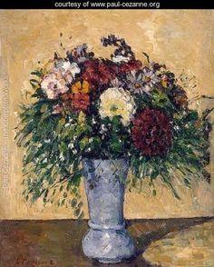 Flowers In A Blue Vase by Paul Cezanne