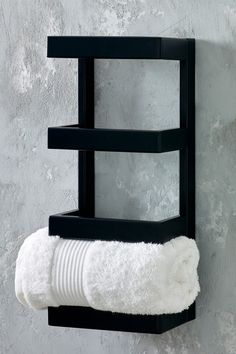 Contemporary and sleek bathroom fitting. Holds up to three towels. Fixings not included Stainless steel. Bathroom Towel Storage, Bathroom Towels, Bathroom Shelves, Small Bathroom, How To Roll Towels, Black Towels, Toilet Roll Holder, Bathroom Interior Design, Display Shelves