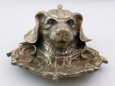 SILVER PLATE SPANIEL INKWELL & PEN TRAY
