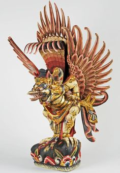 This wooden sculpture of a bird-like creature is found in many parts of South East Asia. In Thailand and Indonesia he is their national symbol, and is part of the Buddhist faith. In India he is the god or deity known as 'Garuda' and is part of the Hindu group of gods © Kirklees Museums