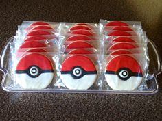 Pokeball cookies for a Pokemon party