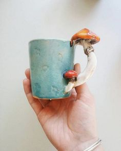 Blue Mushroom Mug / Handmade Mug / Tableware / Forest Cup / Tea Cup / Ha . - Blue Mushroom Mug / Handmade Mug / Tableware / Forest Cup / Tea Cup / Handmade Mug … – DIY – - Love Ceramic, Ceramic Mugs, Ceramic Pottery, Ceramic Spoons, Ceramics Projects, Clay Projects, Stars Disney, Cerámica Ideas, Mug Ideas
