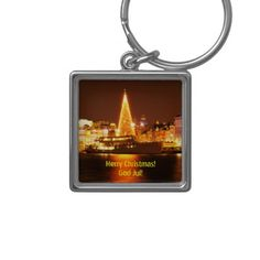 Stockholm Sweden at Christmas at night Keychain - christmas keychains family merry xmas personalize gift idea