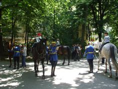 Cismigiu Park - June 2009 - free horseriding lessons offered to children by army members dressed in their most beautiful uniforms. Man On Horse, Bucharest, Romania, Most Beautiful, June, Army, Europe, Colours, Horses