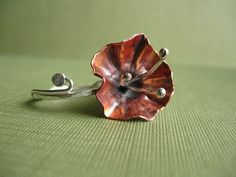 RAW 8/52 Fold Formed Copper and Fine Silver Hibiscus Ring by JaneFont, via Flickr