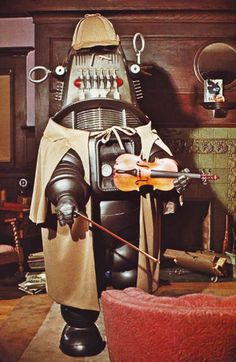 Robby the Robot plays Sherlock Holmes playing.