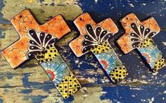 Talavera pottery crosses from Mexico. Mexican folk art. – Salsa Sisters