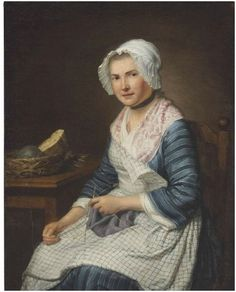 """""""A Serving Girl Knitting"""" attributed to André Bouys (French, 1656–1740) - She wears a window-pane checked apron, floral fichu, cap with sheer pleated brim, ribbon neckband, long sleeves on jacket with matching petticoat. Another example of the popular windowpane check apron that is white with blue lines."""